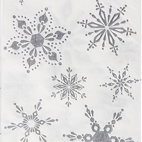 Cypress Home White with Silver Snowflakes Paper Cocktail Napkins, 20 (Snowflake Paper Napkins)