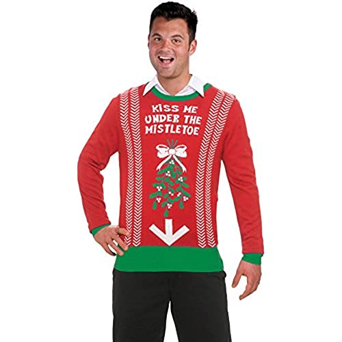 forum novelties mens plus size under mistletoe novelty christmas sweater redgreen x large