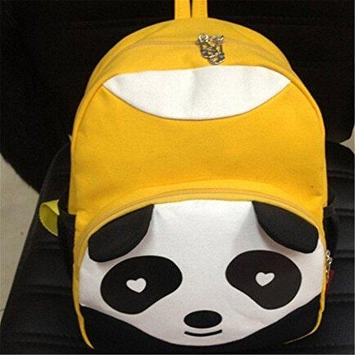 Niedlicher Panda Design Kind Rucksack Kinder Campus Studenten Canvas Tasche Schultasche Gelb