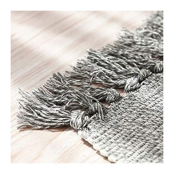 "Wolala Home Hand Woven Reversible Tassels Cotton Indoor Area Rug Mats Runner Rugs for Bedroom/Kitchen/Living Room/Laundry Room/Entryway 2'x6', Gray - 100% WOVEN COTTON - with 2"" decorative tassels fringe finish that won't unravel in wash. DURABLE USE- Six strands of cotton thread to weave,improve flexibility,can machine washable or used for a long time SIZE - 2'x6' Multi colors and sizes to choose, that are easy to mix and match - runner-rugs, entryway-furniture-decor, entryway-laundry-room - 51dPpQ8kP8L. SS570  -"