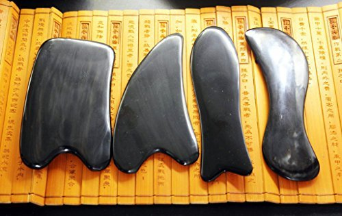 (Acupress Genuine Natural Black Buffalo Horn GuaSha Scraping Massage Tools Set of 4 for SPA Acupuncture Therapy Trigger Point Treatment )