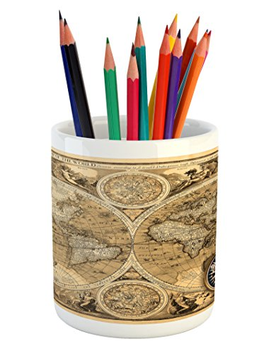 Lunarable World Map Pencil Pen Holder, Old Chart with Countries Oceans Continents Atlas Nostalgic Antique Image, Printed Ceramic Pencil Pen Holder for Desk Office Accessory, Sand Brown -