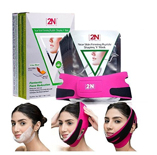 Face Firming Mask, 7 PCS Face Slimming Cheek Mask, Chin Lift up Anti Wrinkle Mask with Bandag Belt Help you Tightening Face Skin and Adding V Face Line and Moisturizing + Whitening (7 PCS+Bandage) 2N