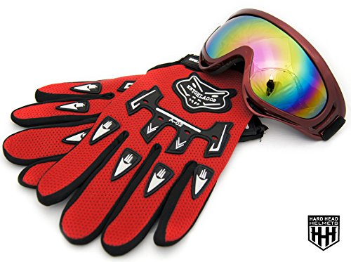 HHH Youth/Adult Goggles Motocross Motorcycle Snow/Ski Dirt Bike ATV MX Off-Road Goggles Multicolour Lens + FREE MATCHING GLOVES (Adult, Kids, Boys & Girls, Youth, Men & Women ) (Red)