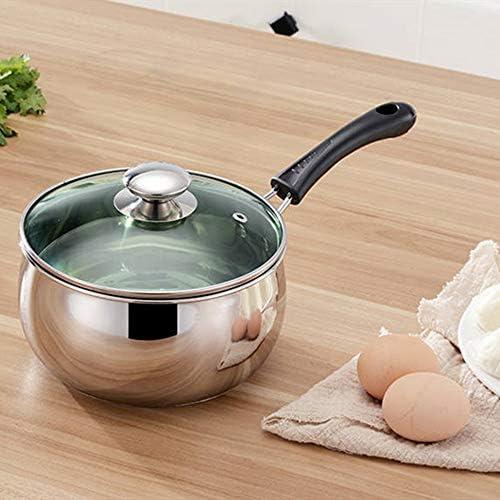 LSS Casserole à Soupe en Acier Inoxydable, ustensiles de Cuisine avec Longue poignée résistante à la Chaleur, Chauffage Uniforme, adapté pour cuisinière à gaz à Induction, etc.