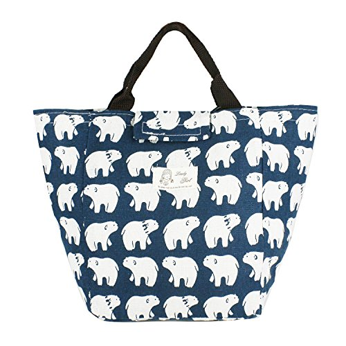 Violet Mist Reuseable Cute Cotton Lunch Bag Well Insulated Lunch Box Tote Waterproof Aluminum Film Cooler Bag (Polar Bear)