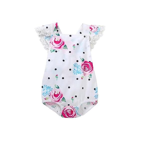DRESS_start Monos Para Bebé NiñAs ReciéN Nacido Bebé NiñA Mono Lunares ImpresióN Rosal Sin Mangas Mameluco