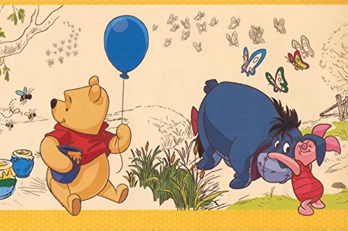 Tiger Winnie the Pooh Eeyore Piglet Beige Kids Wallpaper Border for Bedroom Playroom Bathroom, Roll 15' x 7