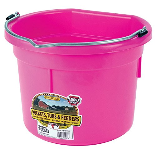 Image of Miller Manufacturing P8FBHOTPINK Plastic Flat Back Bucket for Horses, 8-Quart, Pink