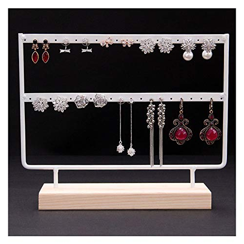Wood Base Metal Jewelry Holder Organizer Display Stand Rack Dangle Earrings Hanger Hanging 44 Holes, Perfect Holder for Earrings Necklaces Bracelets (White)