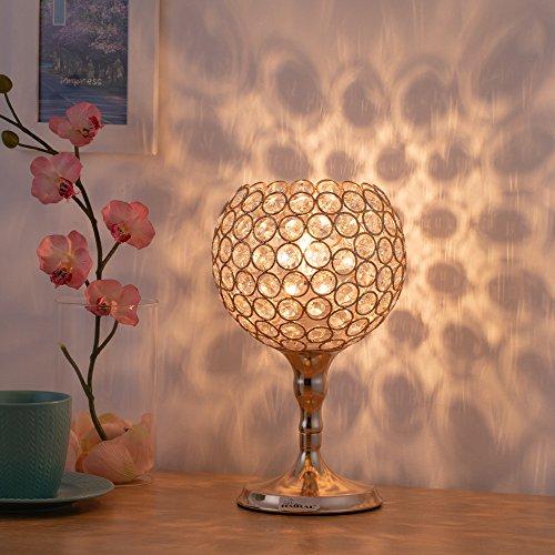 HAITRAL Crystal Desk Lamps - Gold Spherical Night Light Lamp with Metal Base Elegant Decorative Bedside Lantern Nightstand Lamps for Living Room, Bedroom, Dresser, Office, Hallway (HT-BD026)