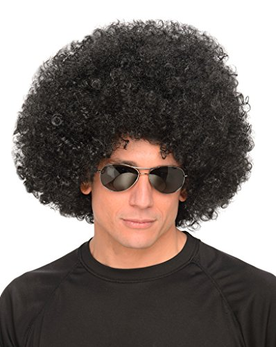 Black Afro - Big 70s Disco Wig for Men, Curly Hair Fro - Disco Afro Wig In Black