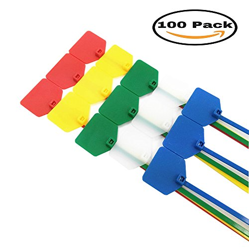 Mydio 100 Pack 4 Inch Marker Nylon Cable Ties,Cable Label Mark Tag,Assorted colors,Pack of 100