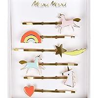 Meri Meri Unicorn Enamel Hairclips - Pack of 6 - Enamel on Gilt Brass with Neon Details