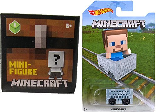 Hot Wheels MineCart Steve Exclusive with Minecraft Collectible Figure Mystery Blind Box Character Mini Figures Wood Series One (1)