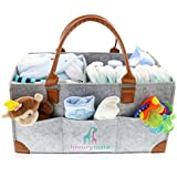 Baby Diaper Caddy Organizer - Extra Large Storage Nursery Bin for Diapers Wipes & Toys   Portable Diaper Tote Bag for Changing Table   Boy Girl Baby Shower Gift Basket   Newborn Registry Must Haves