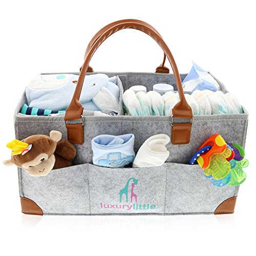 Baby Diaper Caddy Organizer - Extra Large Storage Nursery Bin for Diapers Wipes & Toys | Portable Diaper Tote Bag for Changing Table | Boy Girl Baby Shower Gift Basket -