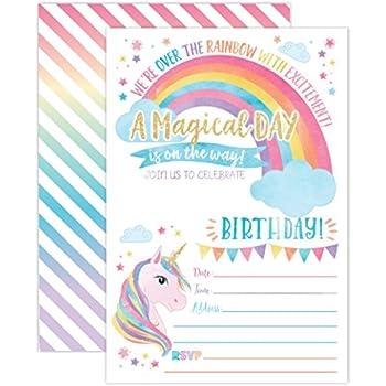Amazon Com Unicorn Birthday Party Invitations Fill In Set Of 15