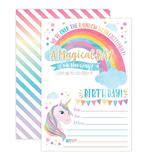 Party Invite (Unicorn Birthday Invitation, Unicorn Party Invite 20 Fill In Style with Envelopes)