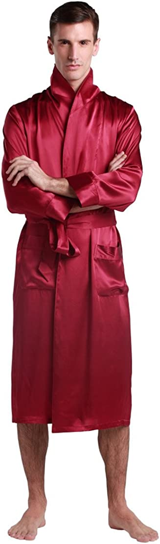 LilySilk Men Long Raw Silk Robe Kimono Vintage Lapel Collar 22 Momme 100% Real Silk Bathrobe Soft