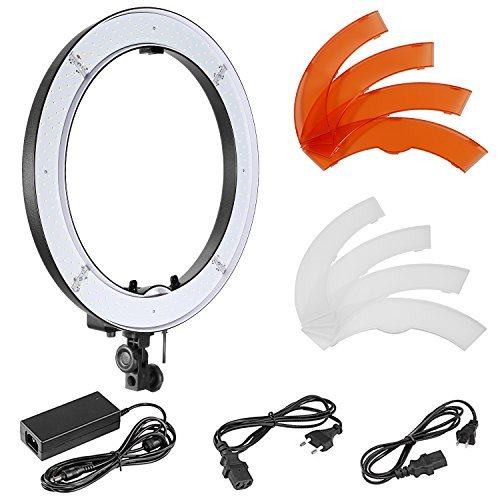 Neewer 18-inch Outer SMD LED Ring Light with Top/Bottom Dual Hot Shoe and Color Filters, Dimmable 5500K Camera/Smartphone Light for Selfie Makeup Studio Portrait YouTube Video Shooting (US/EU Plug) by Neewer