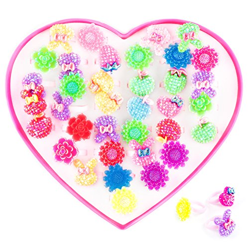 Super Z Outlet Assorted Colorful Plastic Flower Bows Sparkle Adjustable Rings with Heart Shape Display Case for Party Favors, Birthday, Adult & Children Size (36 Pack) ()