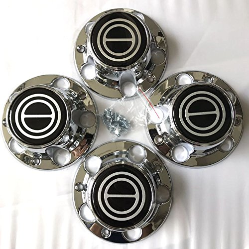1980-1996 Ford F150 Bronco Van Chrome Wheel Hub Center Caps Black Center 4 PCS AutoDaily