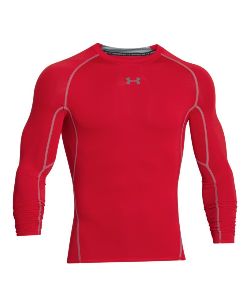 Under Armour Men's HeatGear Long Sleeve Compression Shirt, Red (600)/Steel Small by Under Armour (Image #4)