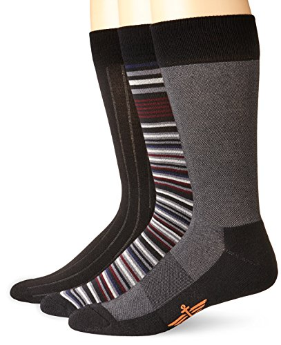 Dockers Men's 3-Pack Ultimate Fit-Elevated Dress Allover Stripe Crew Socks, Black, Shoe Size: 6-12 Size: 10-13