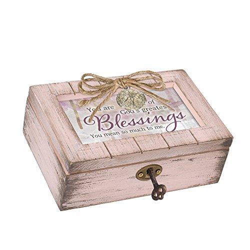 Cottage Garden Gods Greatest Blush Pink Distressed Locket Petite Music Box Plays Friend in Jesus