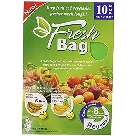 Reusable Green Fresh Bags 15″ x 9.8″ – Prolong Fruits, Vegetable, Flowers & More! 10 PACK