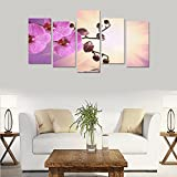 Unique Landscape Art Oil Painting Decoration Purple Water Orchid Custom 100% Canvas Canvas Print Bedroom Wall Paintings Living Room Mural Decoration 5 Piece Canvas painting (No Frame)