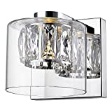 Access Lighting Private Collection Crystal Vanity - Mirrored Stainless Steel Finish with Clear Crystal and Clear Glass Shade