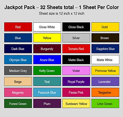 JACKPOT like starter pack vinyl 651 - 32 COLORS. Viynal fabric viynal sheets for vinyl cutter and press package. Not 651 oracle vinyl 651 vinyl silver. Adhesive vinyl sheets for vynil decal (Things Start With Letter O)