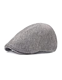 King Star Men's Linen Duckbill Ivy Newsboy Hat Scally Flat Cap