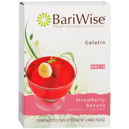 BariWise Low-Carb High Protein Diet Gelatin - Strawberry Banana (7 Servings/Box) - Fat Free, Sugar Free, Low Carb, Low Calorie, Aspartame Free (Diet Gelatins Protein)