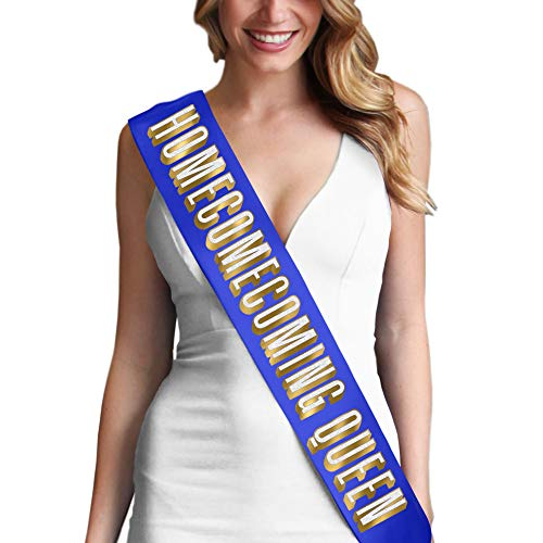 Homecoming Queen Gold & White on Blue Premium Satin Sash - Homecoming Decorations & Supplies - Blue