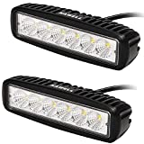 KAWELL 2PCS 18w LED Work Light Off Road Led Lights Bar Fog Driving Bar Jeep Lamp (2 Pack Flood Black)