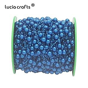 DalaB 60meters/roll Mixed 3/8mm Artificial Pearls Beads Chain Garland Flowers for Wedding Bridal Bouquet Flower 055002005 - (Color: C11 Royal Blue) 86
