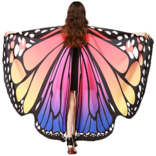 (Soft Fabric Butterfly Wings Shawl Fairy Ladies Nymph Pixie Costume Accessory (Rose)