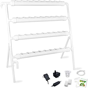 Hydroponic Growing System Gardening Grow Salad Kit, 36 Plant Holes 4 Layers 4 PVC Pipe with Pump, Timer, Sponge, Net Pot, Tutorials for Vegetable Soilless Cultivation with Fertilizer
