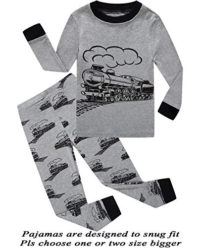 Little Boys Pajamas Train 100% Cotton Long Sleeve Toddler Pjs Clothes Kids Sleepwear 6T -