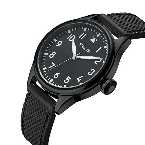 k Sport Analog Watch with Arabic Numbers Stainless Steel Case Soft Black Rubber Band ()