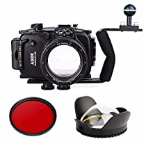 EACHSHOT 40m 130ft Waterproof Underwater Diving Camera Case For Sony A5000 16-50mm + EACHSHOT Aluminium Diving handle + 67mm Fisheye Lens + 67mm Red Filter