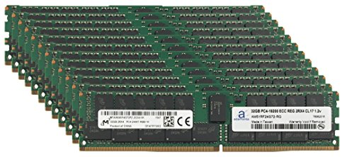 Micron Original 384GB (12x32GB) Server Memory Upgrade for Dell PowerEdge M830 DDR4 2400MHZ PC4-19200 ECC Registered Chip 2Rx4 CL17 1.2v RAM (Poweredge 2400 Server)
