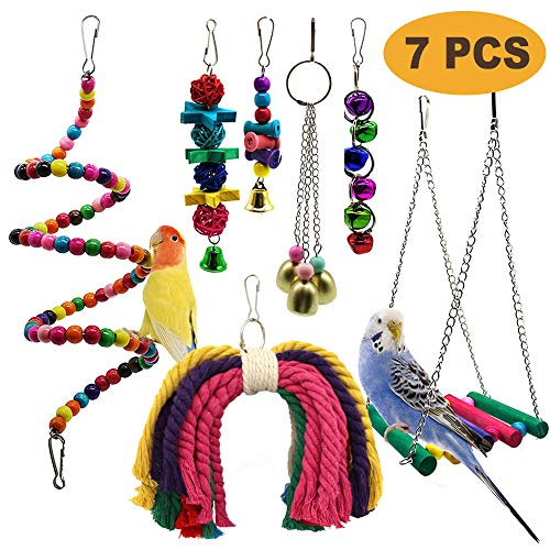 PETUOL Bird Parrot Toys, 7 Packs Bird Swing Chewing Hanging Perches with Bells Finch Toys for Love Birds Howl Budgie Cockatiels Macaws Parakeets Conure Finches Lorikeets and Other Small Medium Birds
