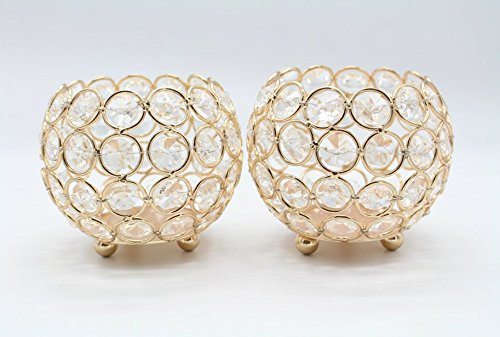 Christmas Tablescape Decor - Gold Crystal Beaded Candle Holders Set of 2