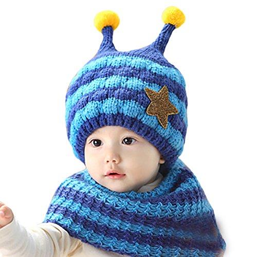 Hiver Amurleopard Bleu Filles Laine Bebe Casquettes Echarpe Chapeaux Bonnet Garcons Chaud ZTnAZU