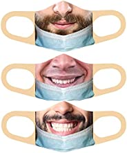 3pcs M.a.s.k.(Less) Bandit Prank Face Mask Washable Mouth Cover, Funny Face Pulled Down Prank Mouth Covering T