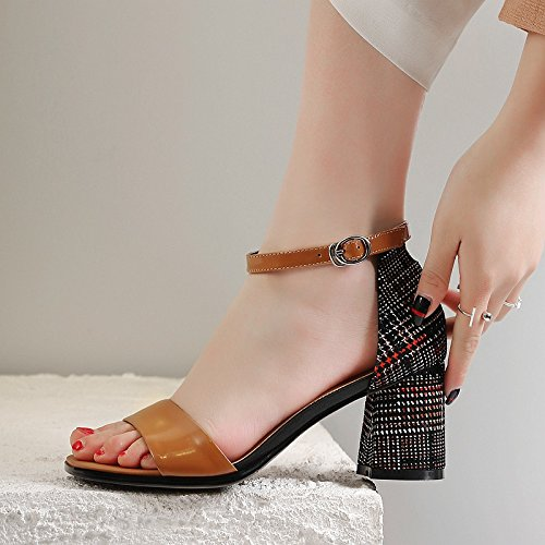 37 giallo tacchi scarpe AJUNR tacchi Donna 7cm Da Moda 38 alti fibbie Alla Sandali dita zxHnOzqafP